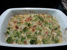 Cheesy Broccoli Casserole (Low Carb)  Add: Ground beef/turkey, extra cheese, heavy cream, top with bacon and extra cheese