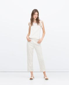 Image 1 of LONG CROCHET DUNGAREES from Zara