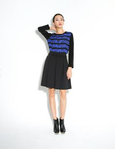 BLACK THICK FLARE SKIRT http://arcloset.com/product_view.php?gs_idx=BO130101SK