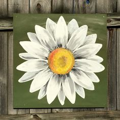 Daisy Painting on Wood Panel Original Flower Art Green and White by ClarabelleArte on Etsy panel Your place to buy and sell all things handmade Daisy Painting, Tole Painting, Painting On Wood, Painting & Drawing, Paint And Sip, Pallet Art, Arte Floral, Learn To Paint, Painting Inspiration