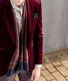 LIONOIR FW15: velvet casual smokin in burgundy over a fine paisley shirt. All made-to-measure!
