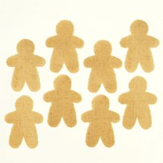 Gingerbread Man Christmas Burlap Applique -- Set of 8 pre-cut burlap gingerbread man shapes for crafting, decorating, or sewing projects.  Also available in stars and hearts from Jubilee Fabric.