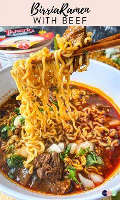 Beef Ramen Recipe, Beef Ramen Noodle Recipes, Ramen Noodle Soup, Ramen Noodles, Asian Recipes, Mexican Food Recipes, Crockpot Recipes, Soup Recipes, Recipies