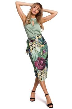 Φούστα wrap με print - Πράσινο Waist Skirt, High Waisted Skirt, Harem Pants, Two Piece Skirt Set, Skirts, Clothes, Dresses, Women, Fashion
