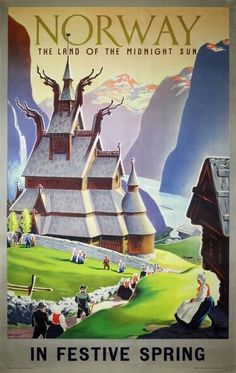 Poster: Norway The Land of the Midnight Sun Artist: Ivar Gull 1955 Publisher: NSB - Norwegian State Railways Printed by: Trygve Pedersen, Oslo Norway Viking, Norway Oslo, Usa Holidays, Tourism Poster, Postcard Art, Norway Travel, New Poster, Poster Wall, Midnight Sun