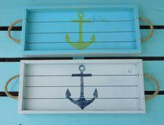 Beach Decor /Coastal tray with Anchor,  rope handles, home decor, nautical decor, nautical trays, beach trays, trays, serving trays
