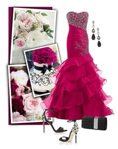 """Homecoming Style: Mermaid Magenta Dress"" by ms-mandarinka ❤ liked on Polyvore featuring Oscar de la Renta, Mascara and Dolce&Gabbana"