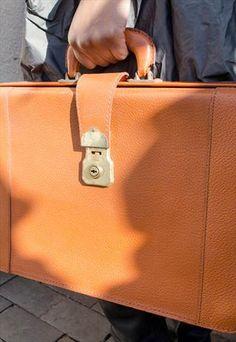 Mens Vintage Brown Leather Brown Briefcase