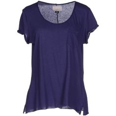 Vintage 55 T-shirt ($29) ❤ liked on Polyvore featuring tops, t-shirts, shirts, tees, dark purple, blue short sleeve shirt, blue tee, embroidery shirts, logo shirts and embroidery t shirts