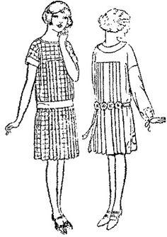 Past Patterns: #7111: Girls' and Little Girls' Slip-On One-Piece Dress: Circa 1925-1926