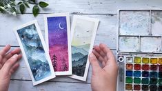 Learn how to make watercolor bookmarks in a watercolor step by step painting tutorial. I will show you how to a paint a watercolor galaxy, watercolor landscape, and a starry night sky painting. Easy watercolor painting for beginners! Watercolor Night Sky, Night Sky Painting, Watercolor Kit, Watercolor Bookmarks, Watercolor Galaxy, Galaxy Painting, Watercolor Artwork, Watercolor Sketchbook, Watercolor Paintings For Beginners