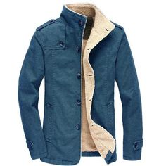 022c68e714980 New winter mens Plus velvet lining warm long jacket Solid color Standing  collar Epaulet coat male Single-breasted Thick coat 6XL