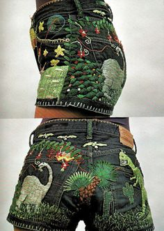 champagneproblems:  [pair of denim short shorts embroidered with outdoorsy, dinosaur-including scenes] mrdthgrvs:   funk & flash  HOLY SHIT.