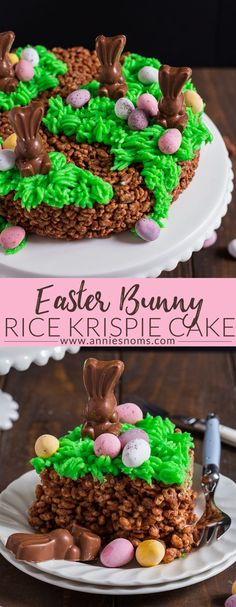 This no bake Easter Bunny Rice Krispie Cake is easy to make and so fun for kids and adults alike! It will make the perfect centrepiece on your Easter table! #ad #easter #ricekrispies #recipe #dessert