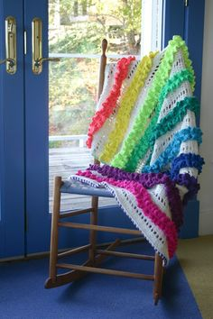 Crochet Pattern Ruffled Ribbons Blanket Rug Afghan door FeltedButton
