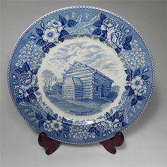 Vintage Staffordshire Blue & White Plate Lincoln's Birthplace Kentucky Jonroth - eBay (Listing Ended) | Lincoln's birthplace depicted in blue with large flowers around the rim.