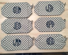 Cosmetic Bags, Personalized Polka Dot Make Up Bags, Monogram Cosmetic Case,   Spa Accessory Bag,   Bridesmaid Gift, Wedding Party Gift by RylasCorner on Etsy