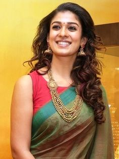 Nayanthara at a GRT Jewellers event in Dubai wearing a Green handloom cotton…