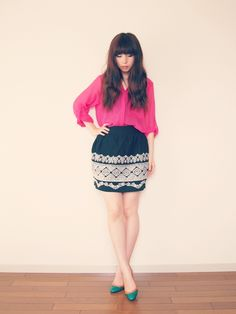 2013/06/22 embroidered skirt - xoxo HiLAMEE