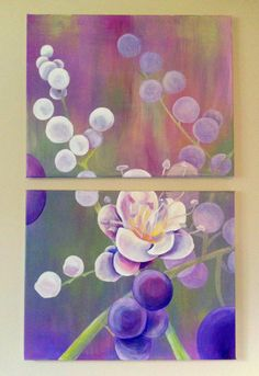 Original Acrylic Floral Diptych Painting by GracedbyDesign on Etsy, $200.00