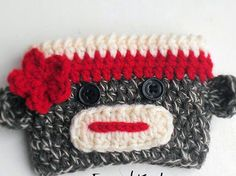 Sock monkey crochet coffee sleeve pattern via @Craftsy