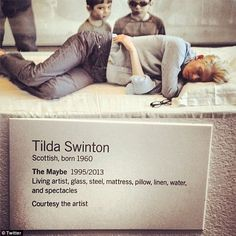 Tilda Swinton, Scottish Oscar winner's exhibit called The Maybe, which consists of the actress sleeping in a glass box for seven hours a day