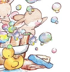 Children Art Print. Bunny Bubble Bath. PRINT 8X10. Nursery Art Home Decor
