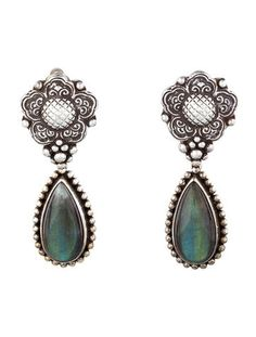 Sterling silver Stephen Dweck engraved drop earrings with teardrop iridescent labrodorite stones and clip-on back closure.