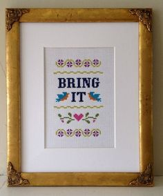 Funny counted cross stitch pattern: Bring It PDF instant download (5.00 USD) by Vendor22