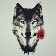 hier zeigen wir ihnen noch eine idee für einen wolf tattoo, wolf tribal ein wolf mit einer roten rose