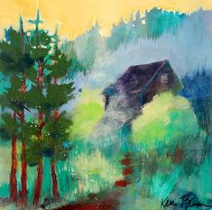 "Small Abstract Landscape Painting Cabin in the Woods, Mountain Scene, ""In the Pines"" by Kerri Blackman 12x12"""