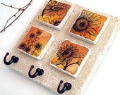 Sunflower Art Key Rack, Natural Stone Tile, Key Holder, Wall Hooks, Country Decor, Key Hook Organizer. $28.00, via Etsy.