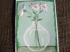 Stitched Daisies Card Hand Painted and Hand by LisasPaintedCrafts,
