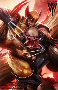 Wolverine vs. Predator Marvel Comics & Alien by Wizyakuza on Etsy