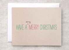 Christmas Card Set of 10 - Very Merry Christmas, Recycled - Typography Green, Red, Brown. $28.00, via Etsy.
