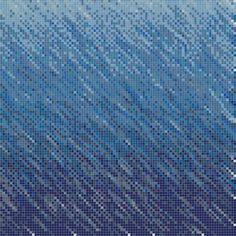 True Blue 45 Degrees Gradient Glass Mosaic Tile Pattern