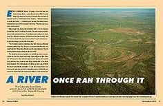 A River Once Ran Through It magazine layout - aerial view of Colorado River delta
