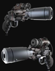 modified version of enforcer gun from blade runner Sci Fi Weapons, Weapon Concept Art, Fantasy Weapons, Weapons Guns, Guns And Ammo, Armes Futures, Rpg Cyberpunk, Future Weapons, Cool Guns