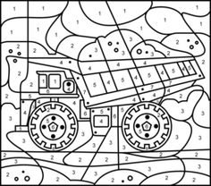 Truck   Printable Color By Number Page   Hard