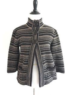 Croft Barrow Knit High Neck Sweater Sloughy Oversized 3/4 Sleeves Brown Cardigan #CroftBarrow #Cardigan #ootd