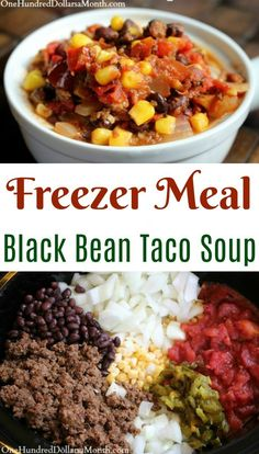 Easy Freezer Meals - Black Bean Taco Soup - One Hundred Dollars a Month - Easy . - Easy Freezer Meals – Black Bean Taco Soup – One Hundred Dollars a Month – Easy Freezer Meals - Freezer Soups, Budget Freezer Meals, Healthy Freezer Meals, Cooking On A Budget, Healthy Recipes, Crockpot Meals, Freezer Cooking, Freezer Recipes, Cooking Tips