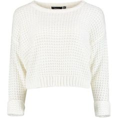 Amber Crop Jumper found on Polyvore featuring tops, sweaters, jumpers, crop tops, cropped sweater, white top, sheer crop top, white knit top and sheer knit sweater