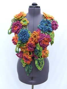 Go-Go-Gorgeous, Crochet & Knitted  Warm Scarf in Bright Rose, Orange Green, Yellow & Violet Blue Flowers and Green Leave's.