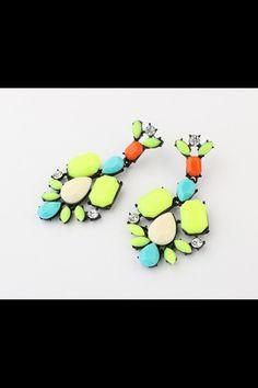 #bettyandbiddy drop statement earrings #love #neon