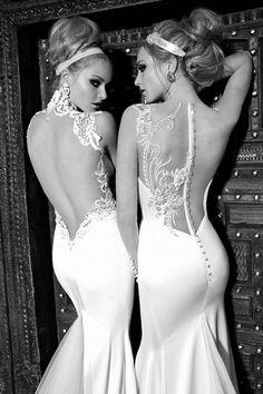 55 vestidos de noiva com decote nas costas - Decote com rendas transparentes