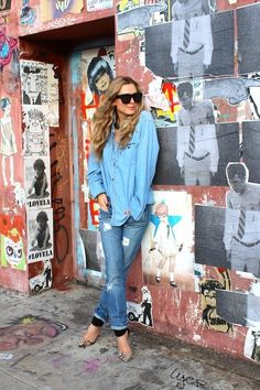 Denim and oversized button down.