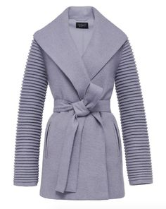 Sentaler Wrap Coat with Ribbed Sleeves - $920