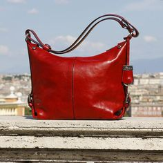 I love this Red Leather Bag - Convertible Shoulder to Crossbody Women's Purse Handbag in Full Grain Italian Calfskin Leather #ad#leatherbag