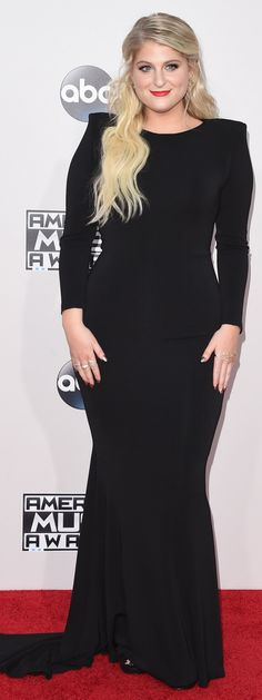 Meghan Trainor at the American Music Awards (Photo: Jason Merritt/Getty Images) Plus Size Gowns, Plus Size Maxi Dresses, American Music Awards 2015, Catwalk Models, Plus Size Fashion Tips, Meghan Trainor, Chubby Ladies, Celebrity Look, Red Carpet Looks