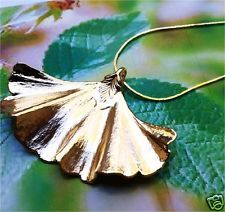 Real Leaf Jewelry, Prehistoric Ginkgo Tree Leaf, 24K gold dipped leaf
